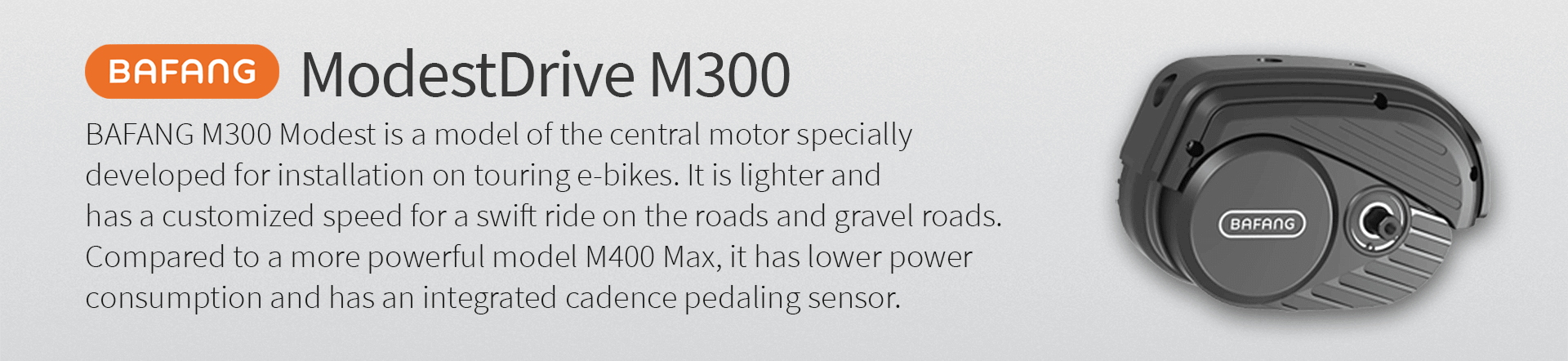 BAFANG M300 Modest is a model of the central motor specially  developed for installation on touring e-bikes. It is lighter and  has a customized speed for a swift ride on the roads and gravel roads.  Compared to a more powerful model M400 Max, it has lower power  consumption and has an integrated cadence pedaling sensor.