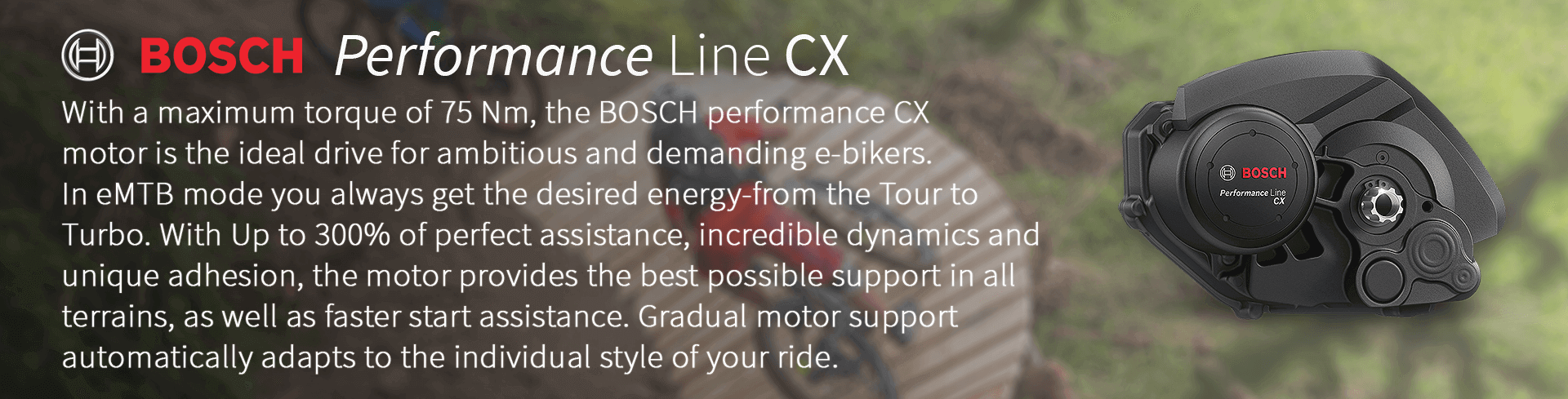 With a maximum torque of 75 Nm, the BOSCH performance CX  motor is the ideal drive for ambitious and demanding e-bikers.  In eMTB mode you always get the desired energy-from the Tour to  Turbo. With Up to 300% of perfect assistance, incredible dynamics and  unique adhesion, the motor provides the best possible support in all  terrains, as well as faster start assistance. Gradual motor support  automatically adapts to the individual style of your ride.