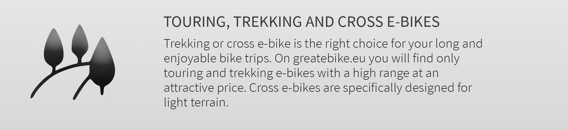 Trekking or cross e-bike is the right choice for your long and enjoyable bike trips. On greatebike.eu you will find only touring and trekking e-bikes with a high range at an attractive price. Cross e-bikes are specifically designed for light terrain.