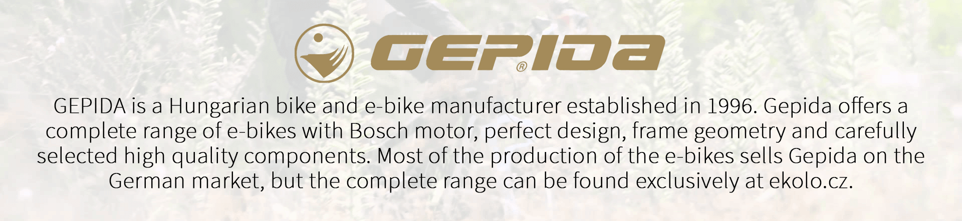 GEPIDA is a Hungarian bike and e-bike manufacturer established in 1996. Gepida offers a complete range of e-bikes with Bosch motor, perfect design, frame geometry and carefully selected high quality components. Most of the production of the e-bikes sells Gepida on the German market, but the complete range can be found exclusively at ekolo.cz.