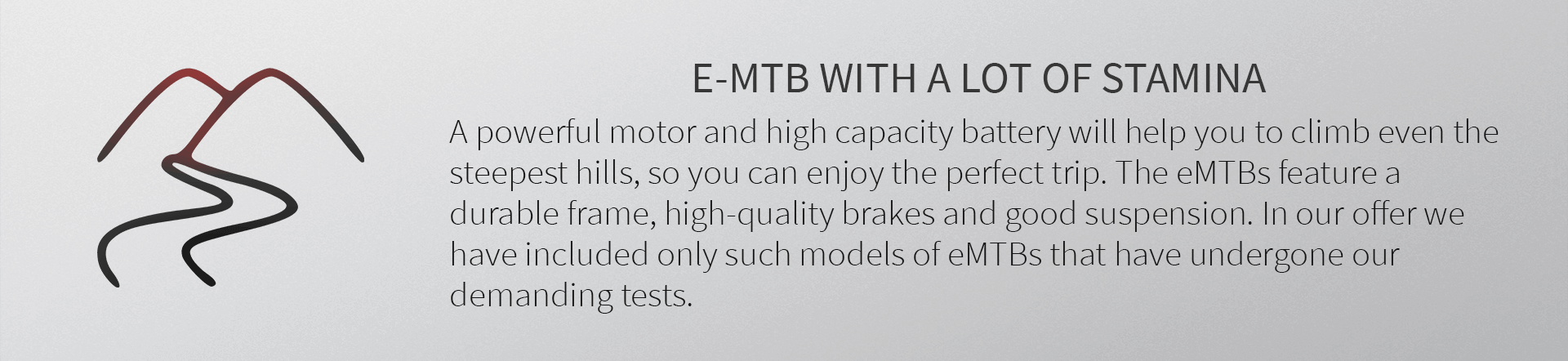 E-MTB WITH A LOT OF STAMINA. A powerful motor and high capacity battery will help you to climb even the steepest hills, so you can enjoy the perfect trip. The eMTBs feature a durable frame, high-quality brakes and good suspension. In our offer we have included only such models of eMTBs that have undergone our demanding tests.