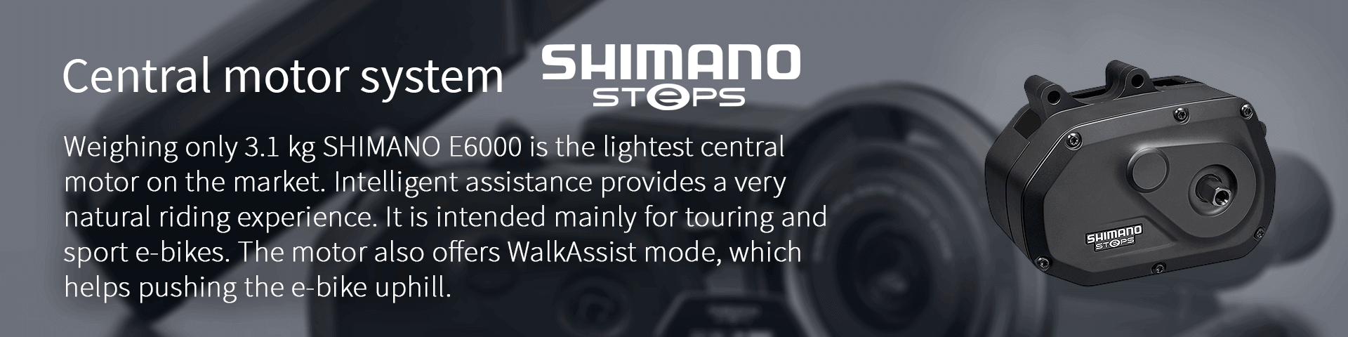 Weighing only 3.1 kg SHIMANO E6000 is the lightest central  motor on the market. Intelligent assistance provides a very  natural riding experience. It is intended mainly for touring and  sport e-bikes. The motor also offers WalkAssist mode, which  helps pushing the e-bike uphill.