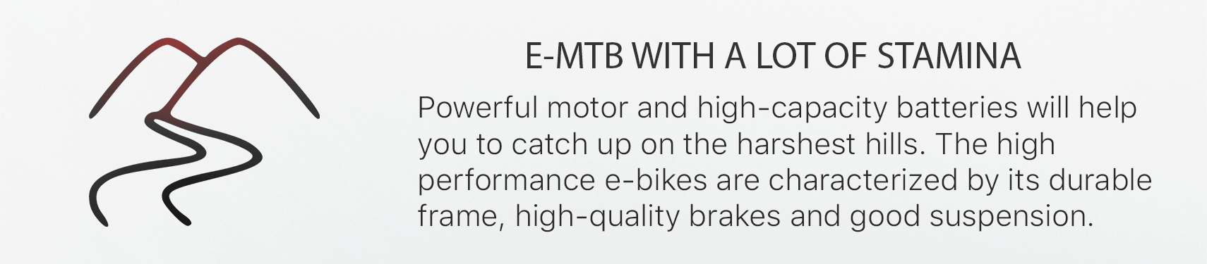 E-MTB WITH A LOT OF STAMIPowerful motor and high-capacity batteries will help  you to catch up on the harshest hills. The high  performance e-bikes are characterized by its durable  frame, high-quality brakes and good suspension.