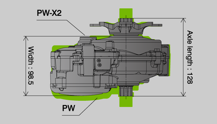 PW-X2 - Outer size comparison