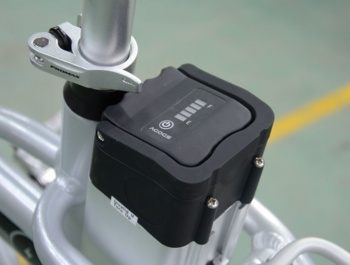 AGOGS SilverGo folding e-bike - branded battery located in the center of gravity , featuring SMART BMS