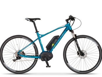 Top version of cross e-bike with Bosch Performance center drive system.