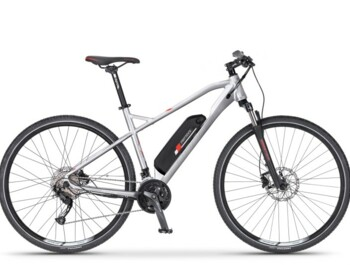 Cross electric bicycle with Bafang motor in geared rear hub.