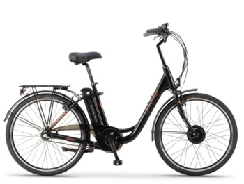 "Urban e-bike with 26"" wheel and low-step frame."