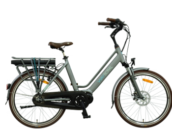 City ebike with high-capacity battery and Shimano Nexus hub derailleur.