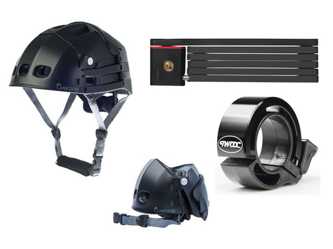 Folding helmet, folding lock