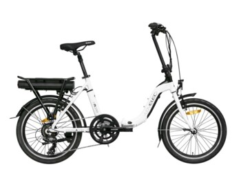 Folding e-bike with rear drive and battery on the rack.