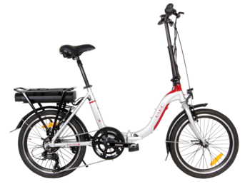 Folding e-bike with rear drive and Li-ion battery.