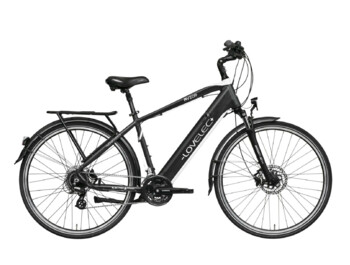 E-bike for travelling, with rear-wheel drive and integrated battery.