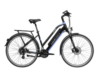 Trekking e-bike with rear drive and low-step frame.