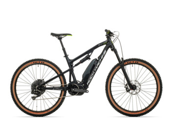 Full-suspension e-bike with a Shimano Steps E8000 central motor.