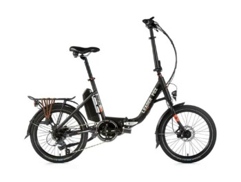 "Folding HARLAN electric bike with aluminum frame, elegant design, solid front fork, disc brakes and 20"" wheels."