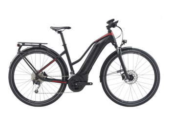 A trekking e-bike fully geared for a trip. With a larger (500Wh) battery.