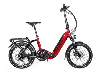 City e-bike with rear engine and integrated battery.