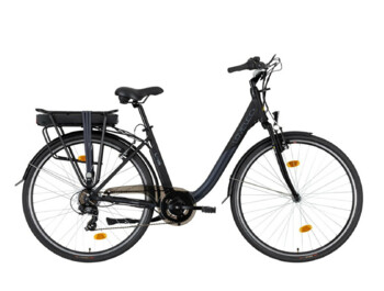 Economical city e-bike with rear motor.