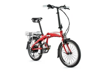 Simple folding electric bicycle with battery placed on the rear rack.