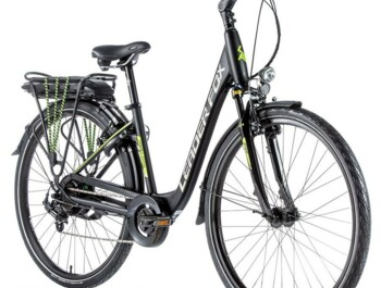 City e-bike with rear motor and low-step frame.