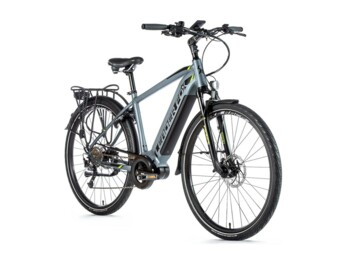 "DENVER trekking e-bike with alloy frame, elegant design, front fork suspension, disc brakes, 28"" rims and Bafang MODEST central motor."