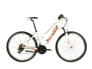 Modern women's cross-country electric bike for a sportier ride or trip. The e-Cross Lady 1.6 e-bike is equipped with a Bafang rear-wheel drive, a fully integrated 468 Wh battery, caliper brakes, a sprung fork and a comfortable seat.