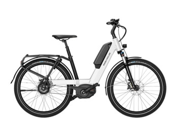 Urban low-step e-bike with central motor  Bosch Performance CX and battery placed higher on the frame.