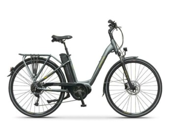 A low step urban e-bike with a Bafang MaxDrive central motor and 580Wh battery located behind the seat tube.