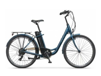 Urban low step e-bike with Silent Plus rear drive and Shimano Tourney 7-speed derailleur.