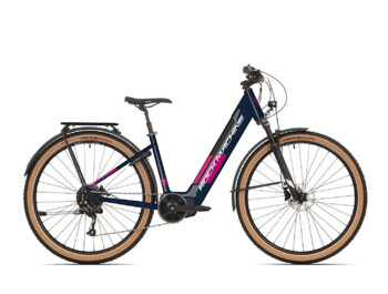 Modern women's e-bike with a light aluminum frame for easy handling.