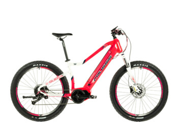 Women's MTB e-bike with a super strong battery with a range of up to 200 km. The e-Guera 7.6 boasts a beautiful pink color, but also great equipment such as a Bafang M400 engine, a fully integrated battery, Shimano brakes and a sprung fork.