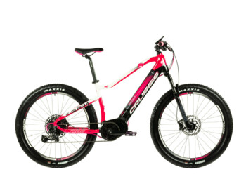 "Mountain e-bike with a practical and very pleasing women's design. You will especially appreciate the powerful Bafang M400 engine, extra powerful 720 Wh battery, reliable Shimano brakes and comfortable 27.5"" wheels. The E-Guera 8.6 will pleasantly surprise you with its performance, great stability, easy handling and long range."