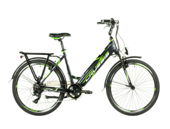 Very practical and functional e-bike with comfortable geometry, low frame tube, Bafang motor in the rear hub and integrated battery. If you are looking for an e-bike for easy trips, or for a trip to work or the city, e-City 1.14 is the right choice.