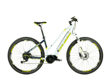 Women's cross electric bike with geometry ensuring comfort, great stability and maneuverability on trips of all kinds.