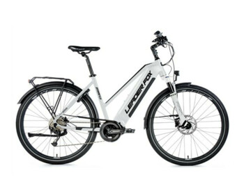 Women's trekking e-bike equipped with a Bafang M300 central motor, an integrated battery with a capacity of 540 Wh, an LCD display with a push-button control on the handlebars and a fast charger with a charging current of 3A.