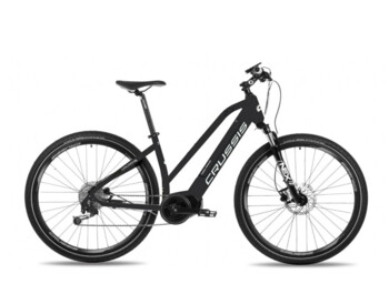 Women's cross electric bike for a sportier ride or trip in light terrain. Practical, functional and nice design with comfortable geometry.