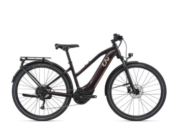 Women's trekking e-bike with a very powerful Giant SyncDrive Core motor, fully integrated EnergyPak 500 Wh battery, sprung fork, powerful hydraulic disc brakes and comfortable geometry. Designed for country trips and city rides.