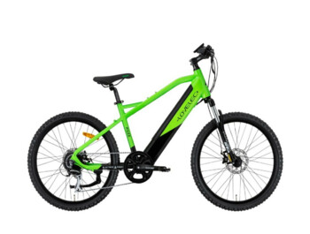 Children's mountain e-bike with integrated battery and rear drive.