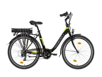 Economical city e-bike with carrier battery and rear-wheel drive. 