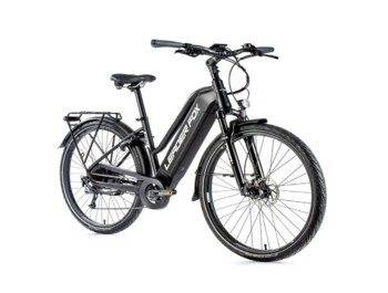 "Sandy trekking e-bike with aluminum frame, sporty design, sprung front fork, disc brakes and 28"" wheel size.