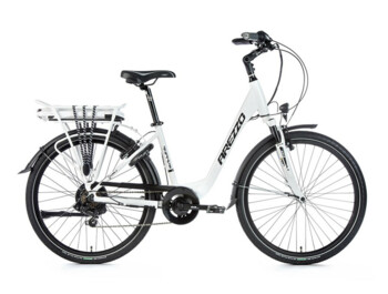 "City electric bike Arezzo Grande 2020 with aluminum frame, elegant design, sprung front fork, V-brakes and wheel size 26""."