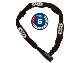 High-quality chain lock from German manufacturer ABUS made of hardened steel, 85cm long.