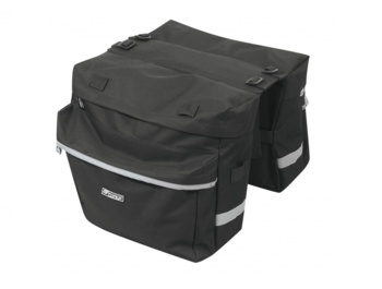 Reinforced double wing on the FORCE rear carrier with an easy system of attachment via hooks and ribbons to the rear carrier. Contains 4 pockets with covered zippers and reflective elements